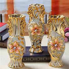 欧式陶瓷金色花瓶摆件家居