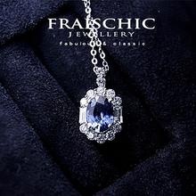斯里兰hh「枭姬」蓝zm链 女纯银925锁骨链1克拉钻石 气质简约