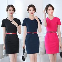 夏季短袖女hi连衣裙 中vi工作服 大码纯色工装 职业装