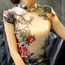 时装改hi款旗袍高端ed蚕丝复古中式走秀年轻式少女长裙中国风