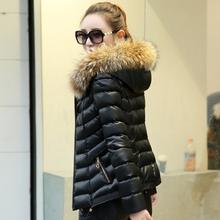 女装2020冬装新款hi7U皮羽绒to韩款矮个子修身外套棉服(小)棉袄