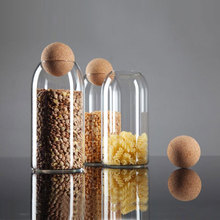 软木塞hi铅玻璃瓶子to带盖可爱储物花茶叶罐(小)号圆形透明家用