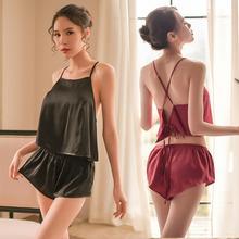 红肚兜hi内衣女夏秋to趣薄式骚冰丝睡衣透明成的情调衣的套装