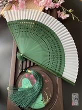 中国风hi古风日式真th扇女式竹柄雕刻折绿色纯色(小)竹汉服