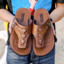 凉鞋男hi底软底外穿th士防滑休闲沙滩鞋罗马皮凉拖的字拖男潮