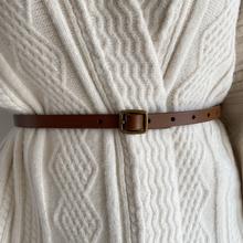 韩款复hi腰带西装毛th收腰显瘦外套牛皮带软细简约做旧女士