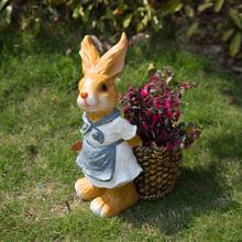 花园庭hj户外幼儿园fc装饰卡通兔子摆件动物树脂花盆创意包邮