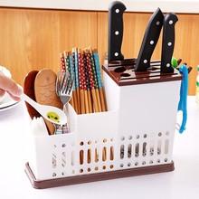厨房用品大号hj子筒加厚塑fc筷笼沥水餐具置物架铲勺收纳架盒