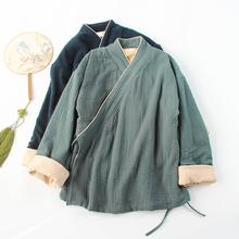 改良汉hj女棉麻秋冬fc女茶服禅意中国风复古中式女装交领禅服