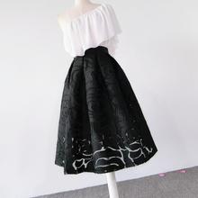 欧根纱hj绒暗纹高腰yq蓬裙伞裙半身裙中长式春夏网纱纯黑女裙