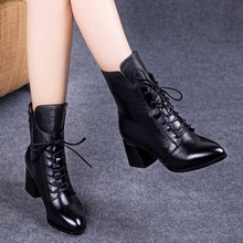 2马丁hj女2020rv秋季系带高跟中筒靴中跟粗跟短靴单靴女鞋