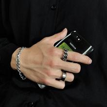 韩国简hk冷淡风复古hy银粗式工艺钛钢食指环链条麻花戒指男女