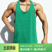 肌肉队hkINS运动an身背心男兄弟夏季宽松无袖T恤跑步训练衣服