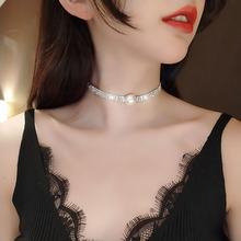 春夏新hk2019短jx锁骨链水钻高档时尚潮流珍珠网红同式颈饰