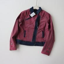 80外hk女装 20jx秋新品女生斜拉链牛仔外套长袖弹力短外套