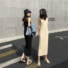 [hkusb]长款背心毛衣裙子女春夏韩