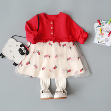 童装新hk婴儿连衣裙xw裙子春装0-1-2-3岁女童新年公主裙春秋4