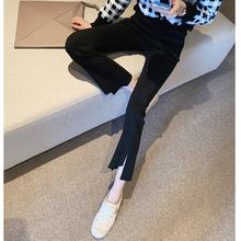 黑色裤hk女2020xw款高腰显瘦休闲裤百搭chic不规则潮