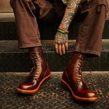 阿美咔hl美式复古棕hc工装马丁骑行皮靴男高帮长筒机车真皮鞋