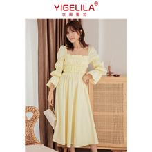 春装2hl21年新式cg长袖方领长式公主仙女气质礼服裙子平时可穿