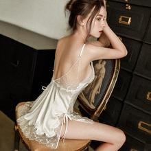 秋法式hm女风纯洁白lx透明性感睡衣女吊带蕾丝睡裙