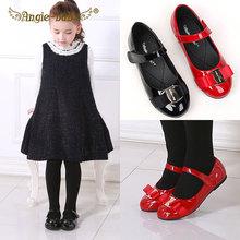 女童公hm鞋宝宝单鞋rp生表演皮鞋女孩魔术贴韩款蝴蝶结平底鞋