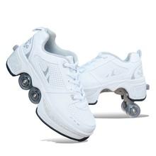 抖音暴hm鞋溜冰鞋四vo滑鞋运动鞋带有轮子学生良角变形鞋男童