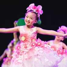 (小)荷风hn花儿你好舞bs服装合唱服女宝宝公主裙蓬蓬纱裙表演服