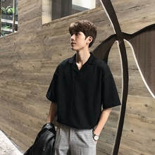 HUAhnUN夏季短bs男五分袖休闲宽松韩款潮流ifashion白衬衣衣服