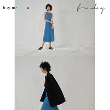 buyhnme a lqday 法式一字领柔软针织吊带连衣裙