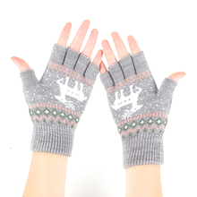 韩款半hn手套秋冬季hr线保暖可爱学生百搭露指冬天针织漏五指