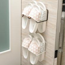 日本浴hn拖鞋架卫生yf墙壁挂式(小)鞋架家用经济型铁艺收纳鞋架