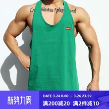 肌肉队hnINS运动kl身背心男兄弟夏季宽松无袖T恤跑步训练衣服