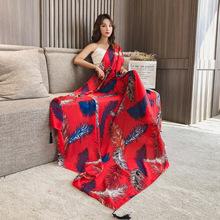 雪纺丝hn女秋季披肩wn搭海边沙滩巾出游度假围巾两用防晒纱巾