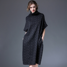 2021春装新式宽松短袖高hn10针织连fs码中长裙显瘦长裙子