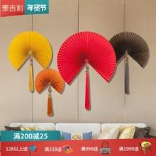 墙上装hn挂件壁挂中qs客厅工艺扇古风中国风挂扇纸折扇