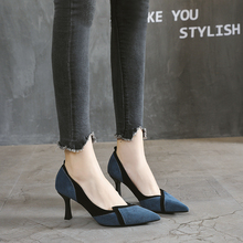 法式(小)hnk高跟鞋女xrcm(小)香风设计感(小)众尖头百搭单鞋中跟浅口