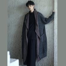 SA春hn新式原创设nc文艺个性撞色中长式大毛衣宽松慵懒外套