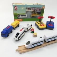 木质轨ho车 电动遥ng车头玩具可兼容米兔、BRIO等木制轨道