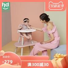 (小)龙哈ho餐椅多功能ng饭桌分体式桌椅两用宝宝蘑菇餐椅LY266