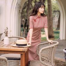 改良新ho格子年轻式am常旗袍夏装复古性感修身学生时尚连衣裙