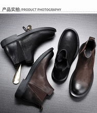冬季新ho皮切尔西靴ok短靴休闲软底马丁靴百搭复古矮靴工装鞋