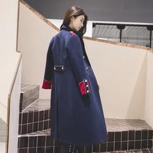 冬季宫ho英伦风中长om外套修身帅气蓝色军装呢子大衣女装双12