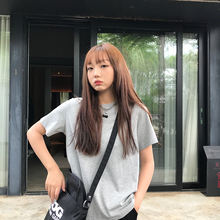 王少女ho店 纯色tom020年夏季新式韩款宽松灰色短袖宽松潮上衣