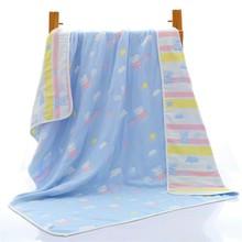 婴儿纯ho浴巾超柔软fu棉夏季宝宝6层纱布盖毯新生宝宝毛巾被