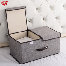 收纳箱ho艺棉麻整理fu盒子分格可折叠家用衣服箱子大衣柜神器