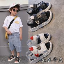 潮流真皮 软底男童凉鞋 2020新式ho15大童(小)fu童牛皮沙滩鞋