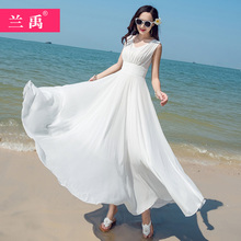 202ho白色雪纺连da夏新式显瘦气质三亚大摆海边度假沙滩裙
