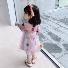 女童连ho裙2020da童1短袖3超洋气T恤纱裙5岁宝宝夏装公主裙子