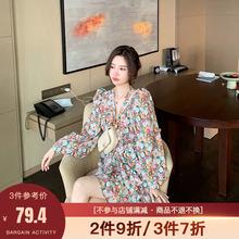 大花媛hoHY202ly春夏装复古法式抽褶设计显瘦雪纺碎花连衣裙女